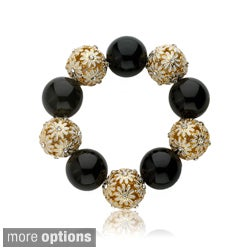 Riccova Color-plated Cubic Zirconia and Enamel Ball Stretch Bracelet