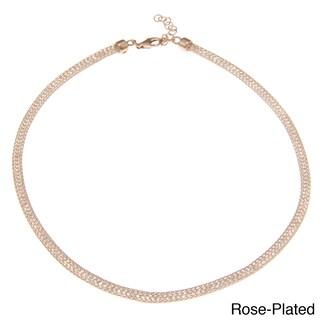 La Preciosa Sterling Silver 'Hidden' Crystal Mesh Necklace (Option: Pink)