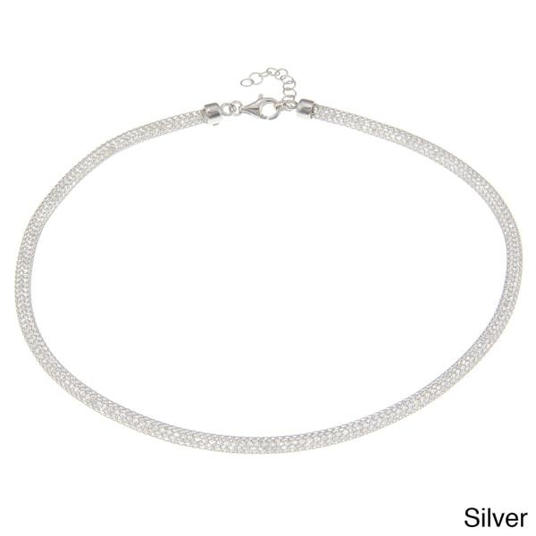 La Preciosa Sterling Silver 'Hidden' Crystal Mesh Necklace