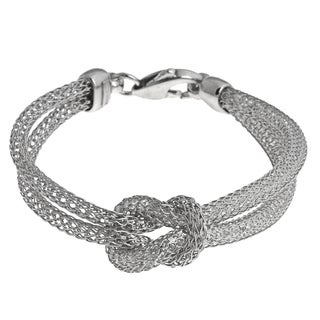 La Preciosa Sterling Silver Crystal Tube and Mesh Bracelet