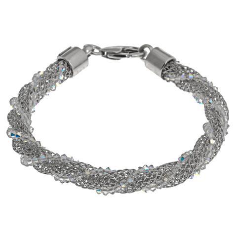 La Preciosa Sterling Silver 'Hidden' Crystal Mesh Winding Bracelet