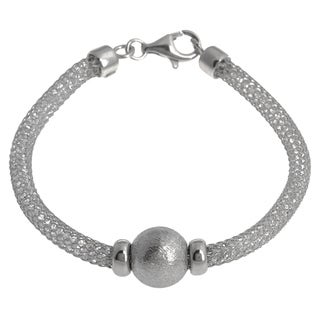 La Preciosa Sterling Silver 'Hidden' Crystal Mesh and Bead Cape Cod Bracelet