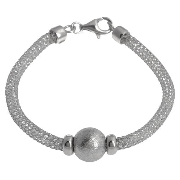La Preciosa Sterling Silver 'Hidden' Crystal Mesh and Bead Cape Cod Bracelet. Opens flyout.