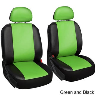 Oxgord Two-tone Faux Leather Low Back Universal Fit Bucket Seat Cover Set (Option: Green/Black)