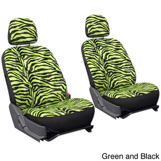 Oxgord Velour Zebra / Tiger 6-Piece Seat Cover Set for Low Back Bucket Front Chairs (Option: Green/Black)