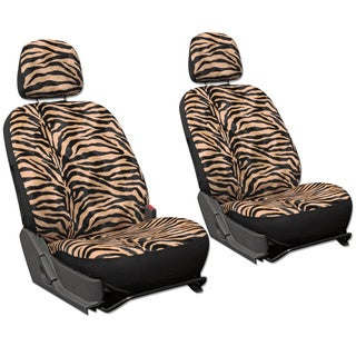 Oxgord Velour Zebra / Tiger 6-Piece Seat Cover Set for Low Back Bucket Front Chairs