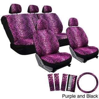 OxGord Velour Leopard/Cheetah Spotted Safari Low-back Bucket Seat Car Seat Cover Set (17-piece Set)