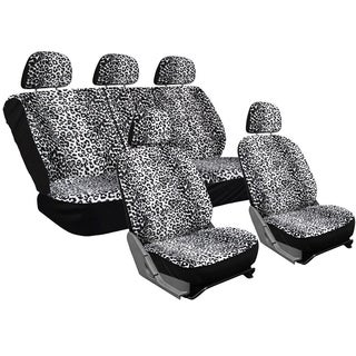OxGord Velour Leopard/Cheetah Spotted Safari Low-back Bucket Seat Car Seat Cover Set (17-piece Set)