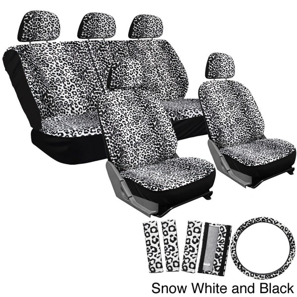 Oxgord Velour Leopard Cheetah Seat Covers 17 Piece Set