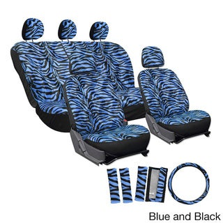 Oxgord Velour Zebra / Tiger Seat Covers 17-Piece Set Striped Safary for Low Back Bucket Seats