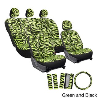 Oxgord Velour Zebra / Tiger Seat Covers 17-Piece Set Striped Safary for Low Back Bucket Seats (Option: Green and Black)