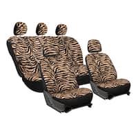 Oxgord Velour Zebra / Tiger Seat Covers 17-Piece Set Striped Safary for Low Back Bucket Seats