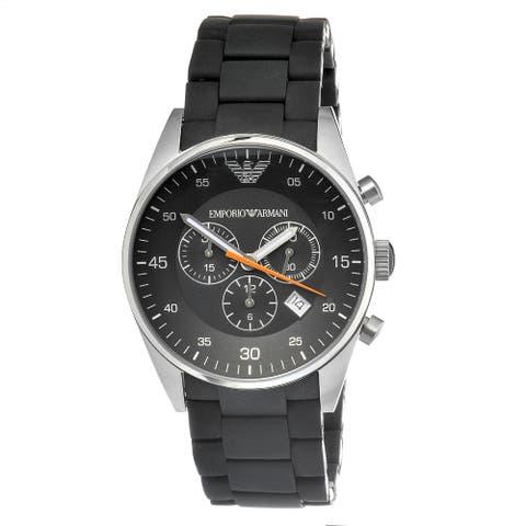 Emporio Armani Men's Black Silicone/ Steel Chronograph Watch