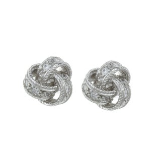 La Preciosa Sterling Silver Cubic Zirconia Love Knot Earrings