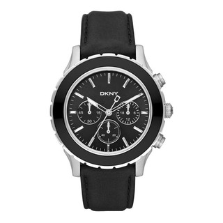 DKNY Men's Black Leather Strap Chronograph Watch