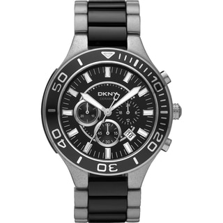 DKNY Men's Black Steel/ Ceramic Chronograph Watch