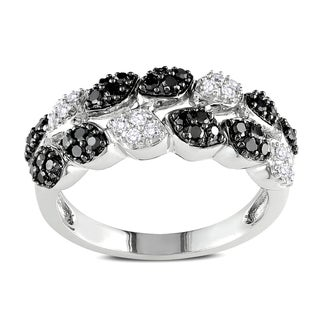 Miadora 14k White Gold 1/2ct TDW Black-and-white Round Pave Diamond Ring