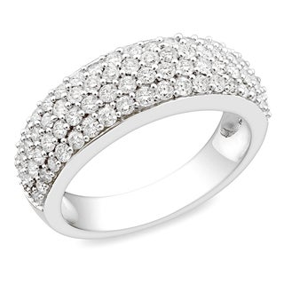Miadora 10k White Gold 1ct TDW Diamond Pave Ring