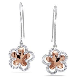 Miadora 10k Rose Gold 1/4ct TDW Diamond Flower Earrings
