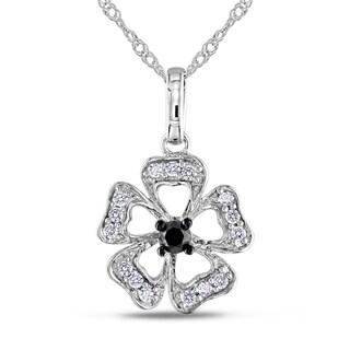 Miadora 10k Gold 1/4ct TDW Black/ White Diamond Necklace