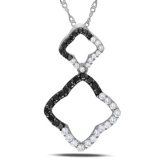 Miadora 14k Gold 1/2ct TDW Black and White Diamond Necklace