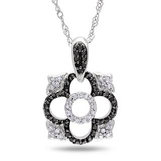 Miadora 14k Gold 1/5ct TDW Black and White Diamond Necklace