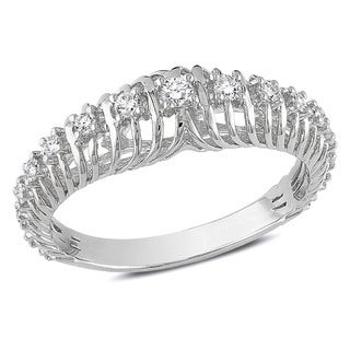 Miadora 14k White Gold 1/4ct TDW Round Diamond Ring