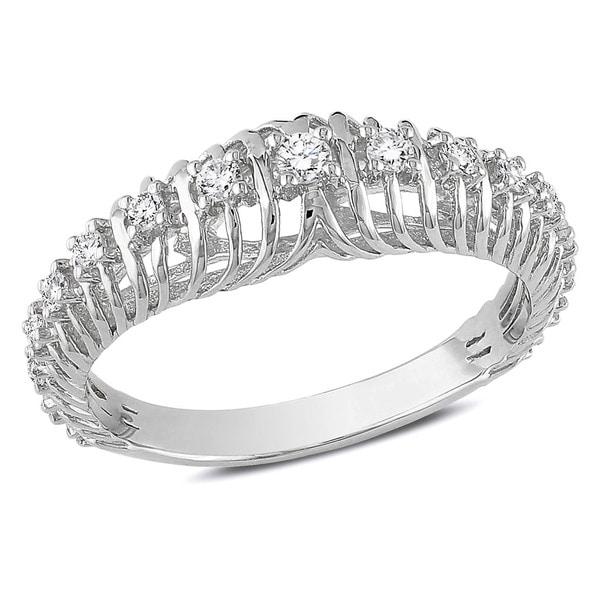 Miadora 14k White Gold 1/4ct TDW Round Diamond Ring