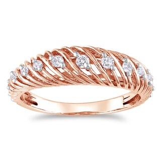 Miadora 14k Rose Gold 1/4ct TDW Diamond Ring