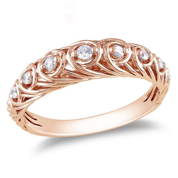 Miadora 14k Rose Gold 1/5ct TDW Diamond Ring (G-H, I1-I2)