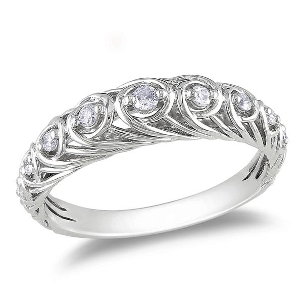 Miadora 14k White Gold 1/5ct TDW White Diamond Ring