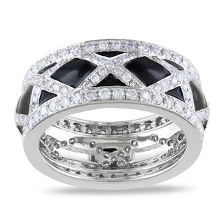 Miadora Signature Collection 14k White Gold 1 1/2ct TDW Black Enamel Diamond Fashion Ring