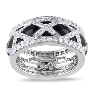 Miadora Signature Collection 14k White Gold 1 1/2ct TDW Black Enamel Diamond Fashion Ring (G-H, SI1-SI2)