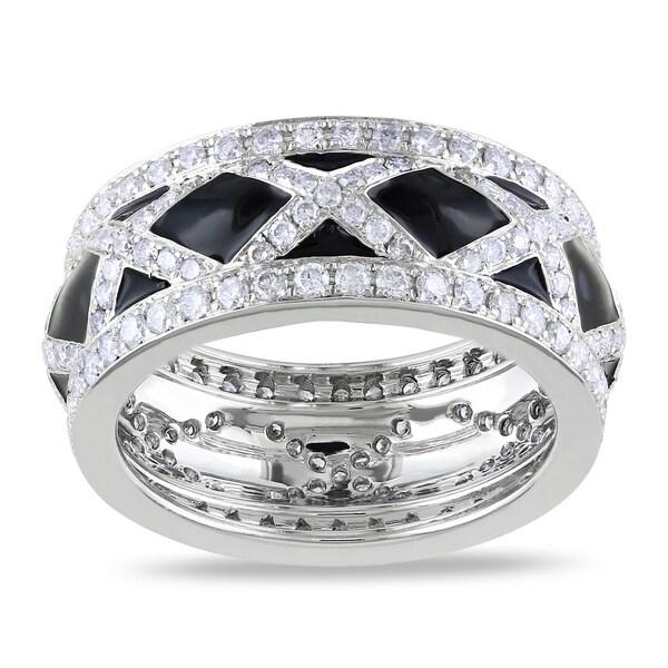Miadora Signature Collection 14k White Gold 1 1/2ct TDW Black Enamel Diamond Fashion Ring