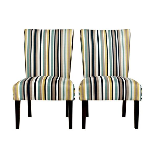 Handy Living Bradford Shore Stripe Blue Armless Chair Set (Set of 2)