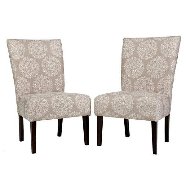 Handy Living Bradford Filigree Cream Tan Armless Chair Set (Set of 2)