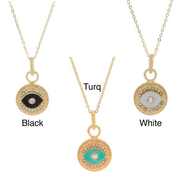 NEXTE Jewelry Goldtone Colored Rhinestone Guardian Eye Necklace