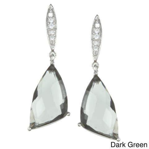 La Preciosa Sterling Silver Cubic Zirconia Drop Earrings