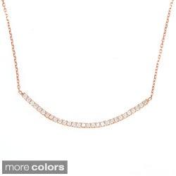 La Preciosa Sterling Silver Cubic Zirconia Curved Bar Necklace