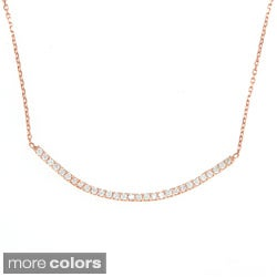 La Preciosa Sterling Silver Cubic Zirconia Curved Bar Necklace