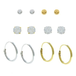 Sunstone Gold over Silver Cubic Zirconia 6-pair Earring Set
