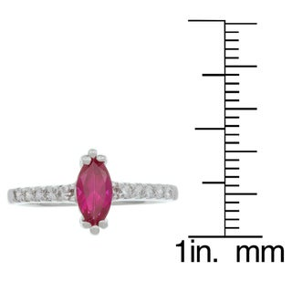 Sterling Essentials Silver Red Marquise Cubic Zirconia Ring