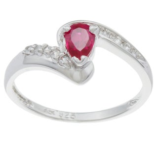 Sterling Essentials Silver Red and Clear Cubic Zirconia Bypass Ring
