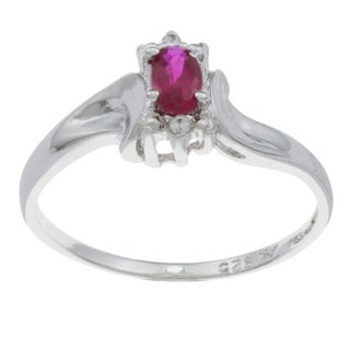 Sterling Essentials Silver Red Cubic Zirconia Oval Petite Ring
