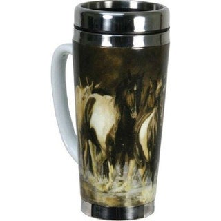Rivers Edge Products Horses 16 oz Ceramic/Stainless Steel Travel Mug