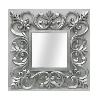 Ornate Silver Square Mirror