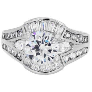 Sterling Essentials Silver Cubic Zirconia Bridal-style Ring