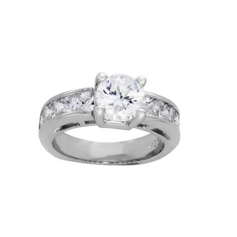 Roberto Martinez Silver Round Cubic Zirconia Bridal-style Ring