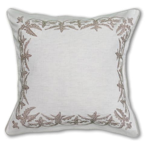 Ava Embroidered Ivory Cotton Decorative Pillow