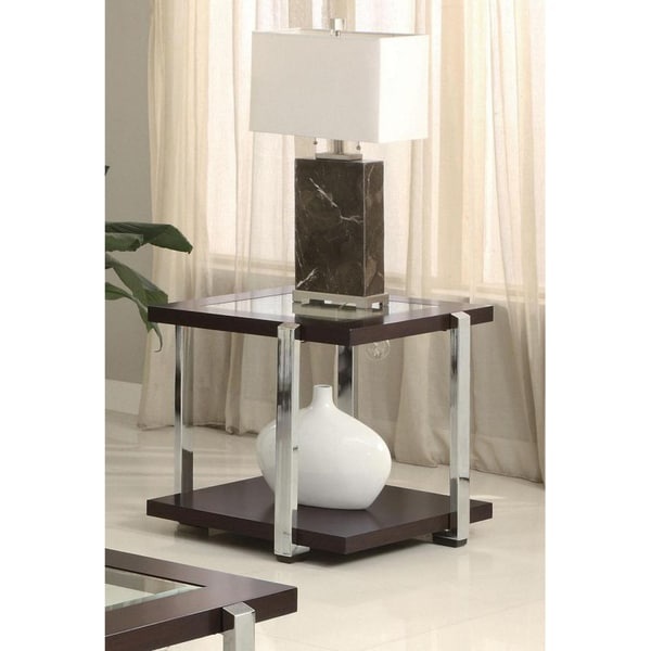 Cyprus Contemporary Chrome/ Glass End Table